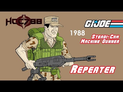 HCC788 - 1988 REPEATER - Steadi-Cam Machine Gunner - Vintage G.I. Joe Toy!