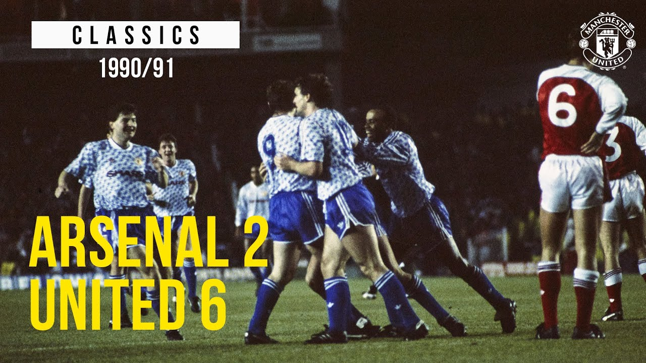 Arsenal 2-6 Manchester United | League Cup Classics | Sharpe, Hughes, Wallace