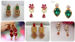 Latest And Luxury 1k Gold Earrings Designs Under 4$ - Gold Emerald Zirconia And Ruby Stud Earrings