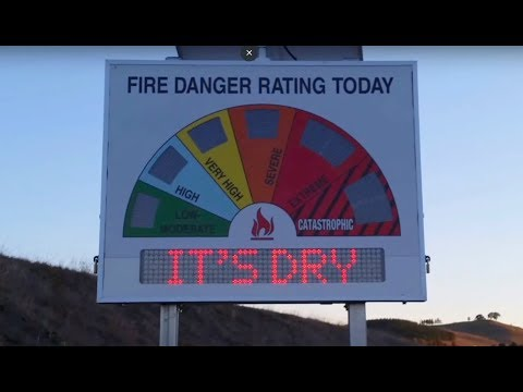 Electronic Fire Danger Rating signs in Canberra Australia