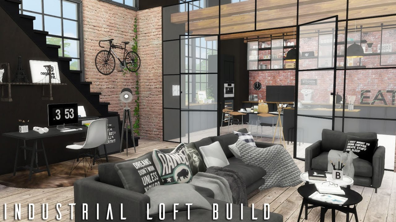The Sims 4 Industrial Loft Cc Links Build Youtube