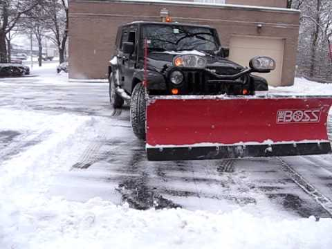 Jeep Wrangler Snow Plow >> Jeep Wrangler Unlimited with 7' Boss Sport Duty plowing 2 - YouTube