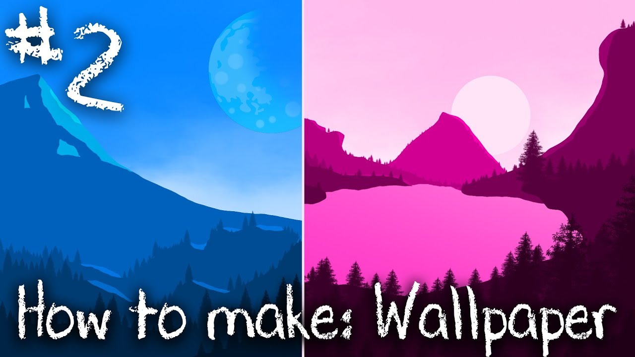 How To Draw 2d Monochromatic Landscape Wallpaper In Photoshop 2 Easy