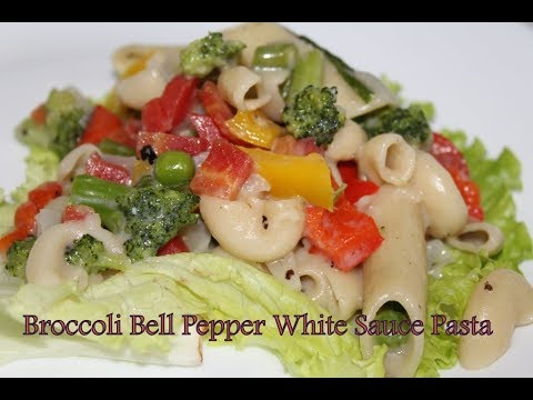 Healthy  & Tasty Broccoli Bell Pepper White Sauce Pasta Made By Sarbani