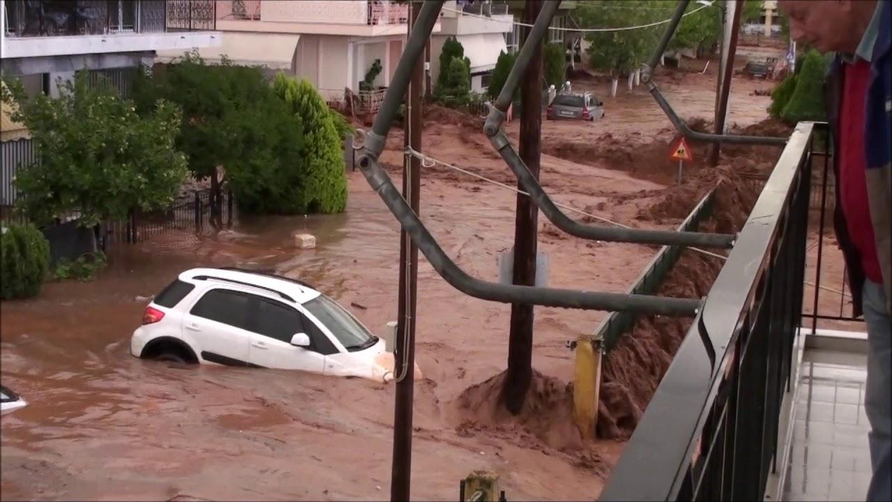 Πλημμύρες Μάνδρα Αττικής 15/11/2017 - YouTube