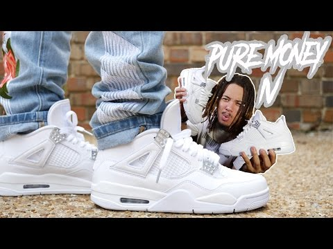 """THE CLEANEST SHOE FOR THE SUMMER ?!?! JORDAN 4 """"PURE MONEY"""" REVIEW AND ON FOOT !!!"""