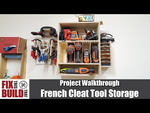 Tool Storage and Cordless Drill Cabinet with French Cleats