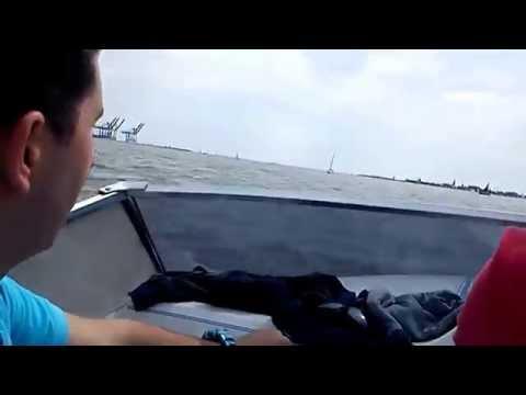 Fast speedboat in Harwich harbor
