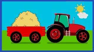 Learn Farm Vehicles For kids With Tractors Trailer Trucks | Learn Names And Sounds For Kids