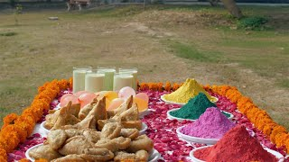 Tilt shot of colorful festive items to celebrate the festival of colors Holi in India