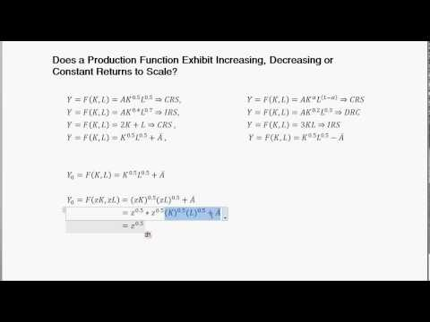 Calculate Returns to Scale - Nine Different Prod. Func. Examples - Intermediate Macro economics