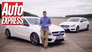 Mercedes A45 AMG vs CLS63 AMG Drag Race - Auto Express
