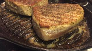 How Sultan cooks Albacore tuna steak iron skillet for Multiple Sclerosis