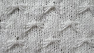 Узор спицами маленькие бабочки или паучки. Видео урок вязание спицами