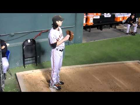 Tim Lincecum warming up Game 5 of World Series