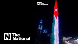 Burj Khalifa lights up in Jordanian flag on kingdom's independence day