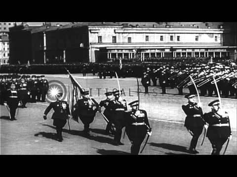 Soviet Premier Joseph Stalin reviews a military parade during May Day celebration...HD Stock Footage