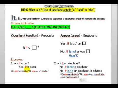 """Ingles curso 1 clase 1  - uso de """"a"""", """"an"""" or """"the"""" -What is it (que es eso)"""
