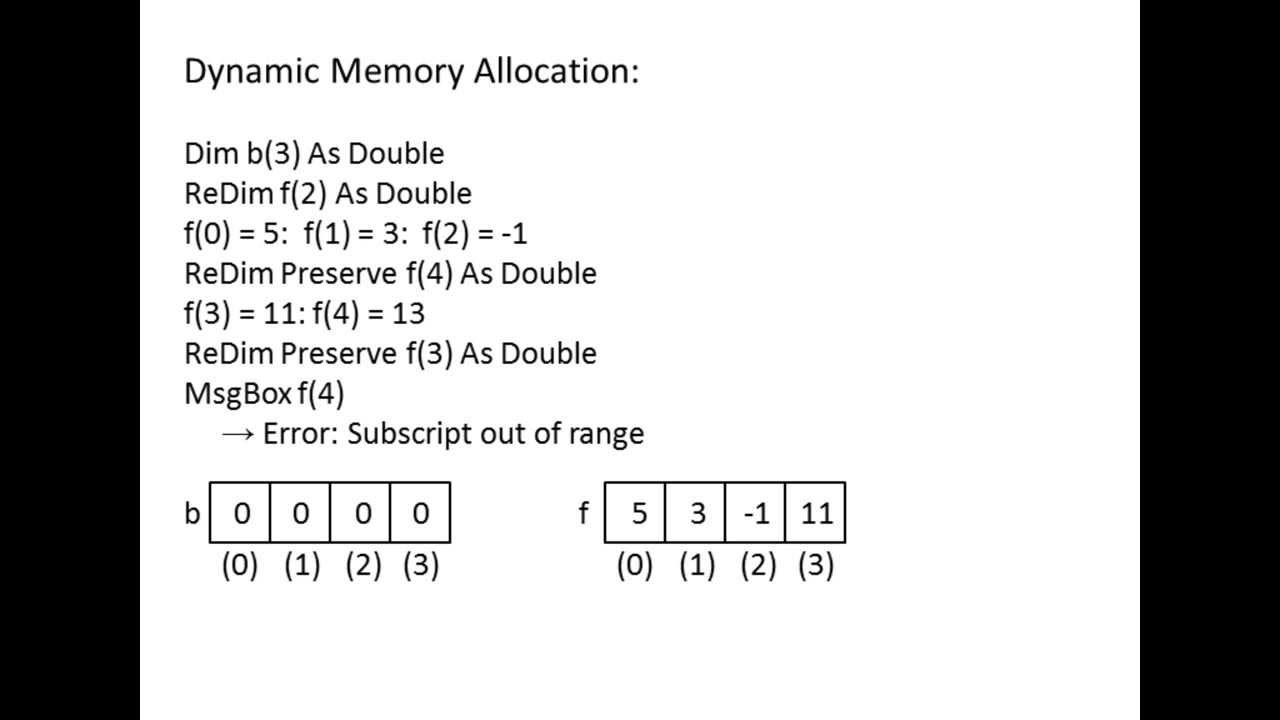 Excel VBA Topic 9 4 - Dynamic Memory Allocation (ReDim statement)