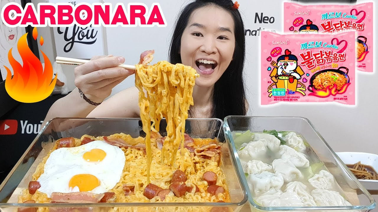 Cheesy Carbonara Fire Noodles W Bacon Eggs Pork Dumplings Spicy Ramen Eating Show Mukbang