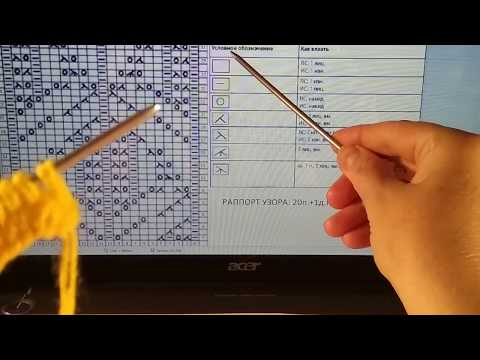 Как читать и вязать схемы японских узоров. Узор 1 из 250.