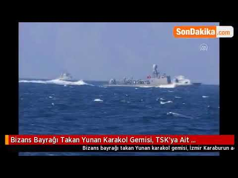 Greek gunboat near Izmir bears Byzantine flag 2018