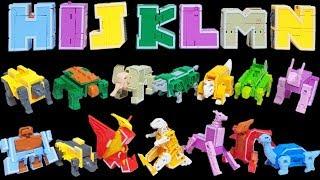 ABC DEFG HIJKLMN 알파벳 로봇 합체  고릴라 기린 코끼리 티라노 브라키오사우루스 스테고사우루스 ABCDEFG HIJKLMN 동물 공룡 장난감