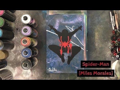 Marvel's Spider Man (Miles Morales) Spray Paint Art - YouTube