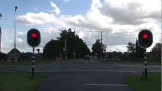 Dutch railroad crossing with traffic lights