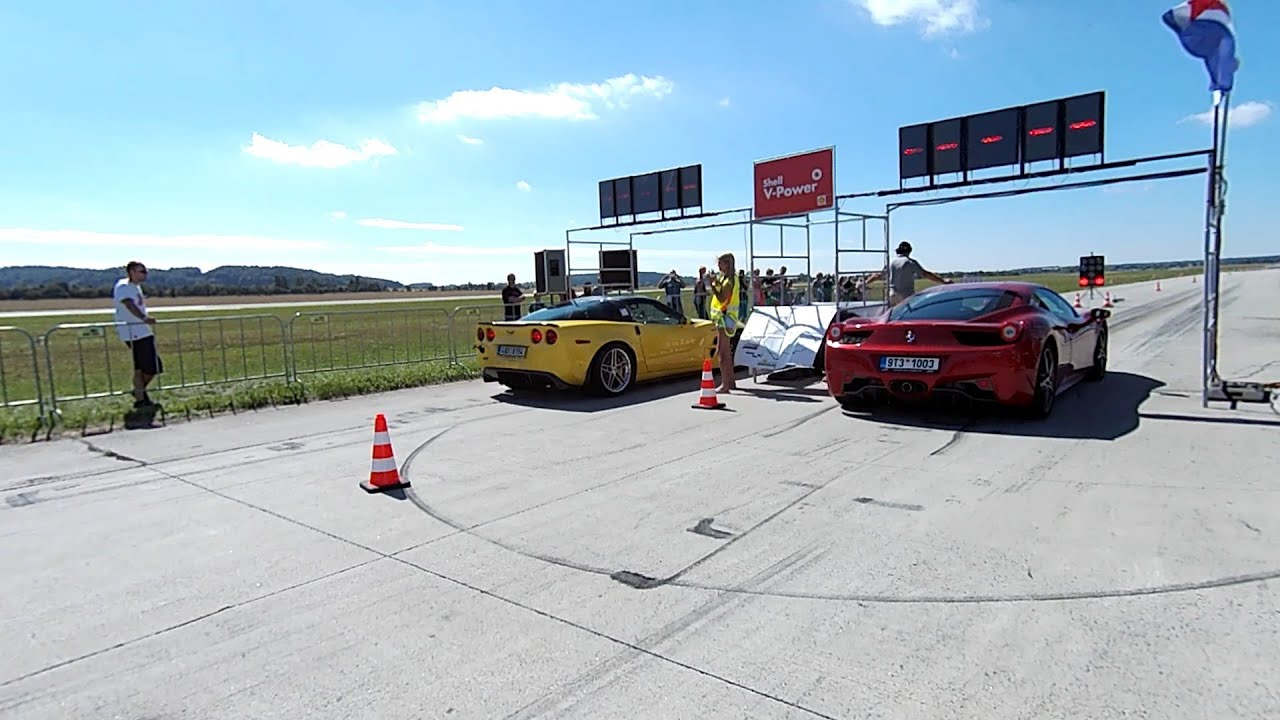 Ferrari 458 italia Vs. Chevrolet Corvette ZR1    Drag race ...