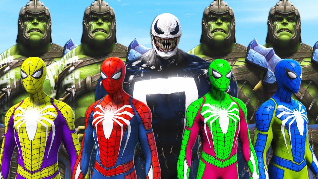 GTA 5 Water Ragdolls Spiderman VS Green Spiderman VS Hulk VS Venom-Ghost (Euphoria Physics)