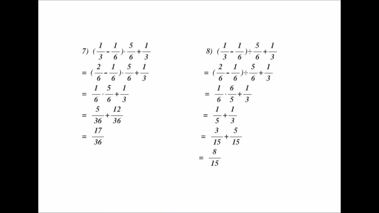 Aufgaben & Lösung - Bruchrechnung ( multiplizieren, Addition ...