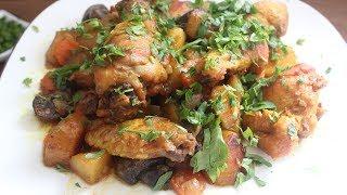 тушеный картофель с курицей и грибами