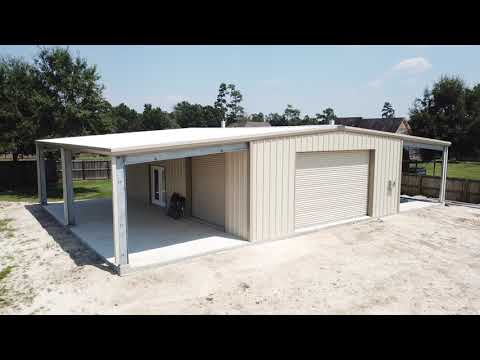 Light Stone/Tan/Galvalume Metal Building w/ Two Patio Covers