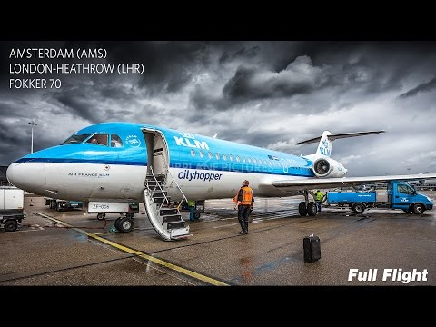 KLM Full Flight | Amsterdam to London Heathrow | Fokker 70 **With ATC**