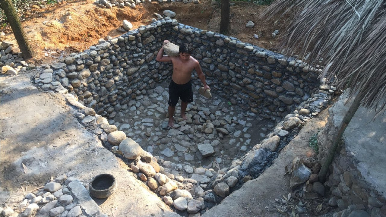 Primitive Life:Stone-Swimming Pool-part1!