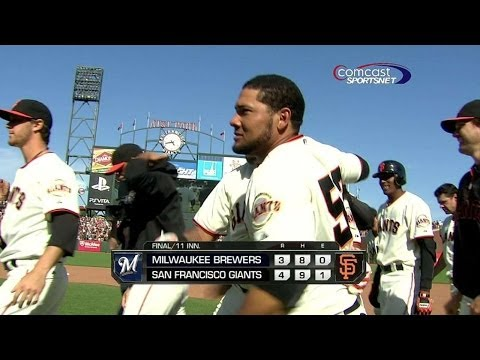 MIL@SF: Sanchez wins it with walk-off single in 11th