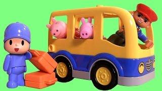 Lego Duplo Pocoyo in School Bus with Peppa Pig - El autobús escolar Scuolabus ônibus