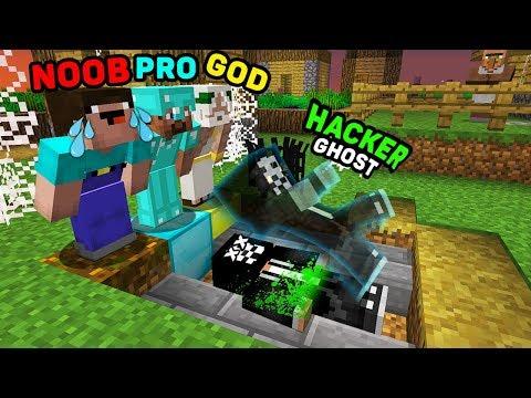 Minecraft NOOB vs PRO vs HACKER vs GOD : HACKER BECAME A GHOST! IN MINECRAFT! ANIMATION!