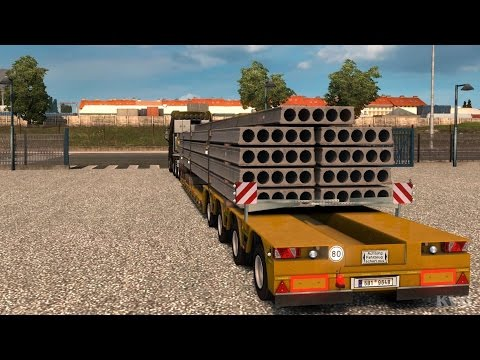 Euro Truck Simulator 2 - Concrete Beams - Heavy Cargo Gameplay (PC HD) [1080p60FPS]