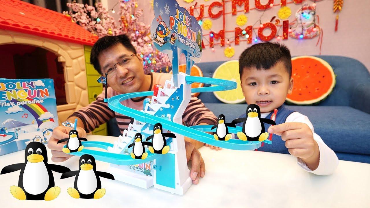 TRÒ CHƠI CÔNG VIÊN TRƯỢT TUYẾT CHIM CÁNH CỤT ĐỒ CHƠI | Jolly Penguin Frisk Paradise Toy For Kids