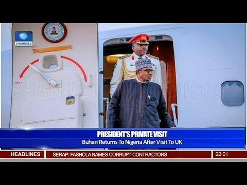 Buhari Returns To Nigeria After Visit To UK 05/05/19 Pt.1 |News@10|
