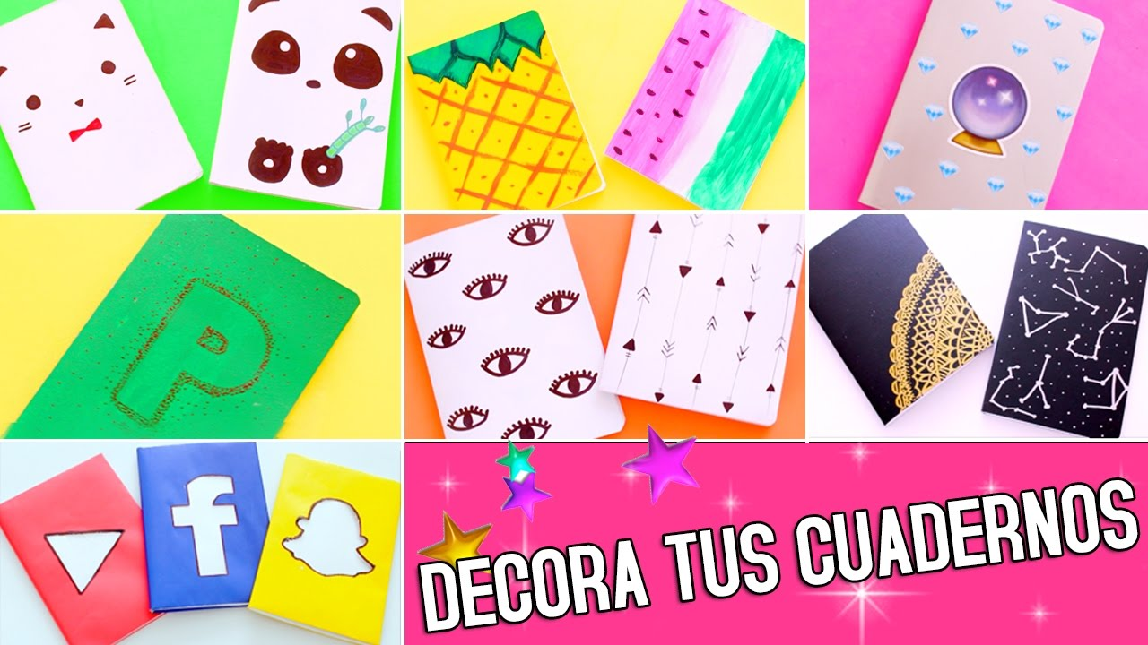 Portadas Para Cuadernos Decora Tus Libretas Con Dibujos: DIY: 14 Ideas Para Decorar TUS CUADERNOS!