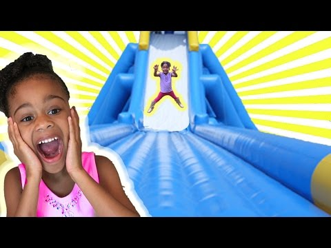 Family Fun Indoor Playground for Kids! Huge Inflatable Slide Surprise Toy | Naiah and Elli Toys Show