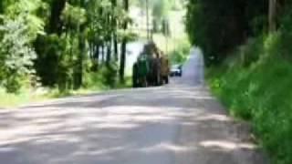 John Deere 730 Pulls 3 Hay Wagons