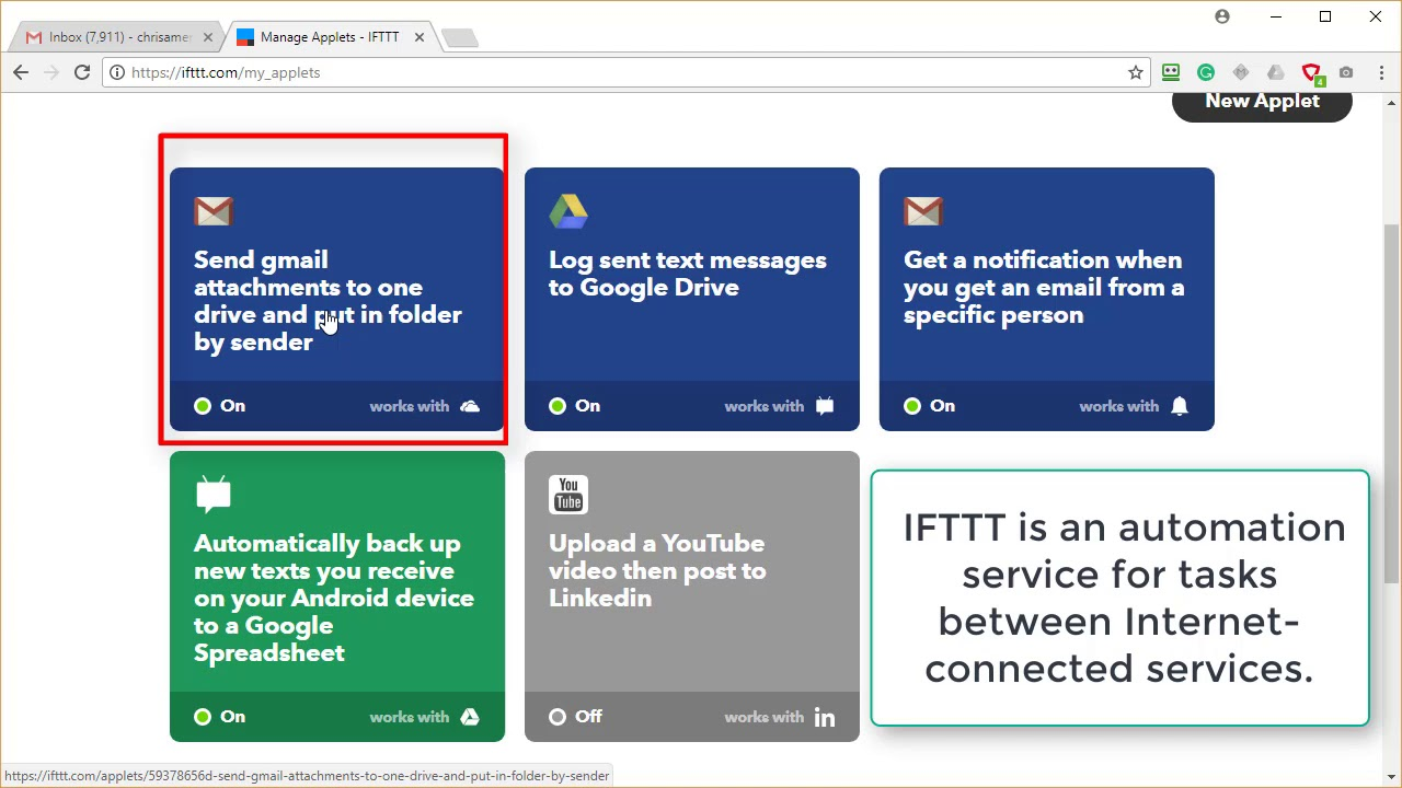 IFTTT to take attachments from Gmail to OneDrive by Chris Menard