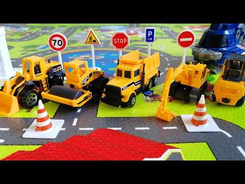 Трактор для мальчиков Мультик про машинки: Экскаватор, каток, самосвал, грузовик, камаз