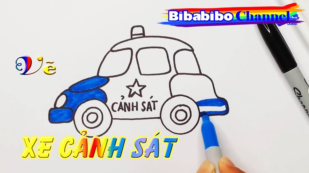 Vẽ xe cảnh sát, Vẽ xe cảnh sát đẹp mê ly, Họa sĩ tí hon, Cùng bé học vẽ, How to draw police car.