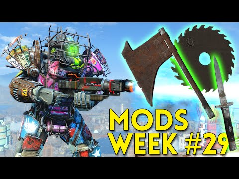 Fallout 4 TOP 5 MODS Week #29 - THROWING WEAPONS, GALVATRON RIFLE, FAR HARBOR DECOR