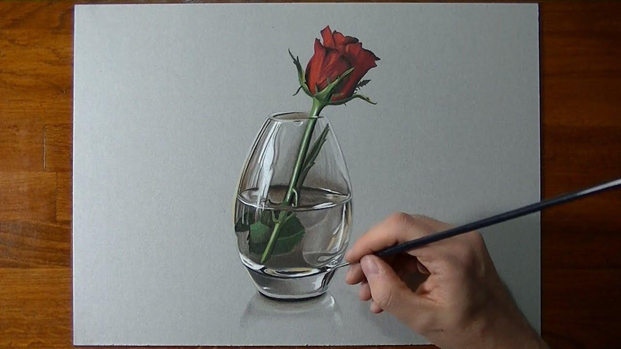 Disegno In Timelapse Rosa In Vaso Di Vetro Youtube